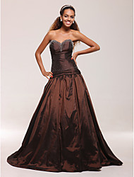 cheap -Ball Gown Quinceanera Prom Formal Evening Dress Sweetheart Neckline Strapless Sleeveless Sweep / Brush Train Taffeta with Beading Draping 2021