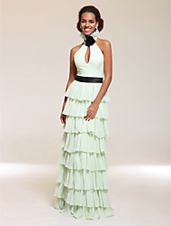cheap -Sheath / Column Celebrity Style All Celebrity Styles Inspired by TV Stars Prom Formal Evening Military Ball Dress Halter Neck V Neck Sleeveless Floor Length Chiffon with Sash / Ribbon Pleats Ruffles