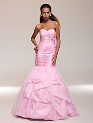 cheap -Mermaid / Trumpet Prom Formal Evening Military Ball Dress Sweetheart Neckline Strapless Sleeveless Floor Length Organza Taffeta with Ruched Beading 2021