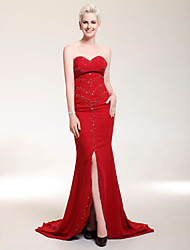 cheap -Sheath / Column Open Back Prom Formal Evening Military Ball Dress Sweetheart Neckline Strapless Sleeveless Sweep / Brush Train Chiffon Stretch Satin with Crystals Beading Split Front 2021