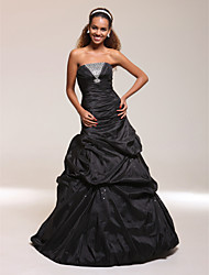 cheap -Mermaid / Trumpet Prom Formal Evening Military Ball Dress Strapless Sleeveless Floor Length Taffeta with Pick Up Skirt Ruched Crystals 2021