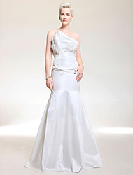cheap -Mermaid / Trumpet Formal Evening Military Ball Dress Strapless Sleeveless Floor Length Taffeta with Side Draping 2021