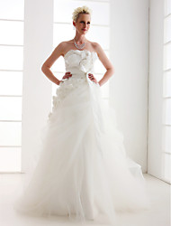 cheap -Princess A-Line Wedding Dresses Strapless Floor Length Taffeta Tulle Sleeveless with 2020