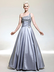 cheap -Ball Gown Sparkle & Shine Prom Formal Evening Military Ball Dress One Shoulder Sleeveless Floor Length Taffeta Sequined with Ruched Beading Sequin 2020