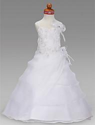 cheap -Princess / A-Line Floor Length Wedding Party Organza / Satin Sleeveless Spaghetti Strap with Appliques / Flower / Spring / Summer / Fall / Winter