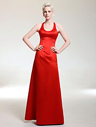 cheap -Ball Gown Elegant Formal Evening Military Ball Dress Scoop Neck Sleeveless Floor Length Satin with 2021