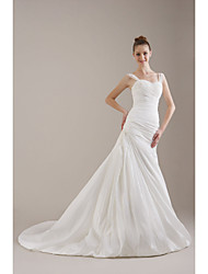 cheap -Princess A-Line Wedding Dresses Straps Sweetheart Neckline Chapel Train Satin Taffeta Sleeveless with 2021