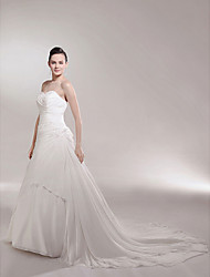 cheap -Princess A-Line Wedding Dresses Strapless Sweetheart Neckline Cathedral Train Chiffon Sleeveless with 2020
