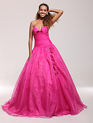 cheap -Ball Gown Quinceanera Prom Dress Sweetheart Neckline Strapless Sleeveless Floor Length Organza Satin with Bow(s) Ruched Beading 2021