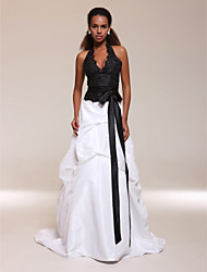cheap -Ball Gown Halter Neck Sweep / Brush Train Satin / Taffeta Dress with Beading / Sash / Ribbon by TS Couture®