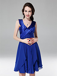 cheap -Ball Gown All Celebrity Styles Holiday Homecoming Cocktail Party Dress V Neck Sleeveless Short / Mini Chiffon Stretch Satin with Criss Cross Ruched Draping 2020
