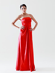 cheap -Sheath / Column Formal Evening Dress Strapless Sleeveless Floor Length Stretch Satin with Criss Cross Draping 2021