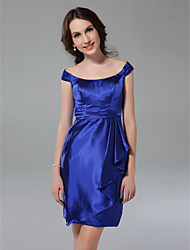 cheap -Sheath / Column Off Shoulder Short / Mini Stretch Satin Bridesmaid Dress with Ruched Ruffles by