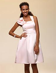 cheap -A-Line Straps Knee Length Satin Bridesmaid Dress with Ruffles