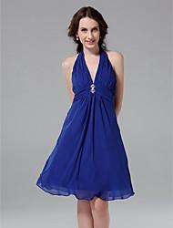 cheap -Princess / A-Line Halter Neck / V Neck Knee Length Chiffon Bridesmaid Dress with Ruched / Draping / Crystal Brooch