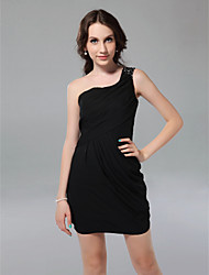 cheap -Sheath / Column Little Black Dress Holiday Homecoming Cocktail Party Dress One Shoulder Sleeveless Short / Mini Chiffon with Beading Side Draping 2021