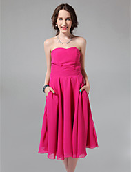 cheap -A-Line Sweetheart Neckline / Strapless Tea Length Chiffon Bridesmaid Dress with Draping