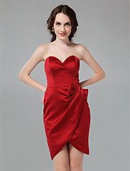 cheap -Sheath/Column Sweetheart Short/Mini Satin Bridesmaid Dress