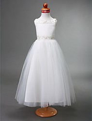 cheap -A-Line / Princess Floor Length Flower Girl Dress - Satin / Tulle Sleeveless Bateau Neck with Beading / Draping / Spring / Summer / Fall / Winter / First Communion
