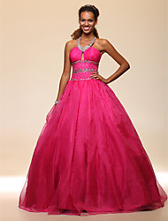 cheap -Ball Gown Open Back Quinceanera Prom Formal Evening Dress Halter Neck Sleeveless Floor Length Organza Satin with Beading Draping 2021