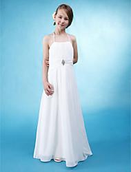 cheap -Princess / A-Line Halter Neck Floor Length Chiffon / Satin Junior Bridesmaid Dress with Sash / Ribbon / Ruched / Draping / Spring / Summer / Fall / Wedding Party / Natural