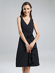 cheap -A-Line V Neck Knee Length Chiffon Bridesmaid Dress with Ruffles / Side Draping / Flower