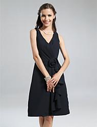 cheap -A-Line V Neck Knee Length Chiffon Bridesmaid Dress with Ruffles / Side Draping / Flower