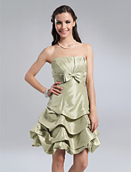 cheap -A-Line Open Back Homecoming Cocktail Party Wedding Party Dress Strapless Sleeveless Knee Length Taffeta with Pick Up Skirt Bow(s) Side Draping 2021