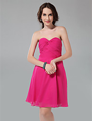 cheap -Princess / A-Line Strapless / Sweetheart Neckline Knee Length Chiffon Bridesmaid Dress with Criss Cross / Ruched
