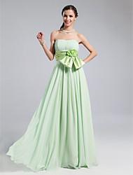 cheap -Sheath / Column Strapless / Sweetheart Neckline Floor Length Stretch Satin Bridesmaid Dress with Sash / Ribbon / Draping / Flower