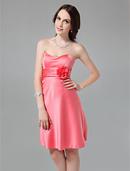 cheap -A-Line Sweetheart Neckline / Strapless Knee Length Satin Bridesmaid Dress with Ruched / Flower