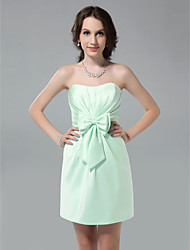cheap -Sheath/ Column Sweetheart Short/ Mini Side-Draped Satin Bridesmaid Dress