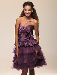 cheap -Ball Gown A-Line Homecoming Cocktail Party Sweet 16 Dress Strapless Sweetheart Neckline Sleeveless Knee Length Taffeta Tulle with Ruched Flower 2020