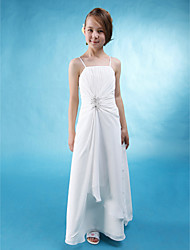 cheap -A-Line Spaghetti Strap Floor Length Chiffon / Stretch Satin Junior Bridesmaid Dress with Beading / Side Draping by LAN TING BRIDE® / Spring / Summer / Fall / Wedding Party / Natural
