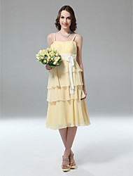 cheap -Sheath / Column Spaghetti Strap Tea Length Chiffon Bridesmaid Dress with Sash / Ribbon