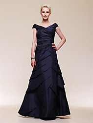cheap -Ball Gown Elegant Formal Evening Wedding Party Military Ball Dress Off Shoulder Short Sleeve Floor Length Taffeta with Criss Cross Beading 2020