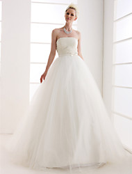 cheap -Ball Gown Wedding Dresses Strapless Floor Length Tulle Strapless with Bowknot Sash / Ribbon Beading 2021
