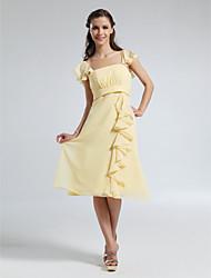 cheap -A-Line Straps Knee Length Chiffon Bridesmaid Dress with Ruffles / Draping