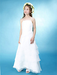 cheap -Princess / A-Line Spaghetti Strap Floor Length Organza / Satin Junior Bridesmaid Dress with Side Draping / Spring / Summer / Fall / Wedding Party / Natural