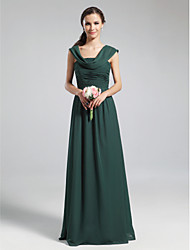 cheap -A-Line Cowl Neck Floor Length Chiffon Bridesmaid Dress with Pleats / Ruched / Draping