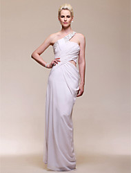 cheap -Sheath / Column Open Back Formal Evening Military Ball Dress One Shoulder Sleeveless Floor Length Chiffon with Beading Side Draping 2021