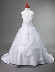 cheap -Princess / Ball Gown / A-Line Court Train First Communion / Wedding Party Satin / Tulle Sleeveless Straps / Sweetheart Neckline with Appliques / Spring / Summer / Fall / Winter