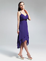 cheap -Princess / A-Line V Neck / Spaghetti Strap Asymmetrical / Knee Length Chiffon Bridesmaid Dress with Ruffles