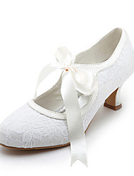 cheap -Women's Spool Heel Ribbon Tie / Lace Satin / Stretch Satin Mary Jane Spring / Summer White / Ivory / Wedding / EU42
