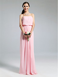 cheap -Sheath / Column Strapless Floor Length Chiffon Bridesmaid Dress with Pleats