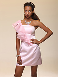 cheap -Sheath / Column One Shoulder Short / Mini Organza Satin Cocktail Party Homecoming Wedding Party Dress with Ruffles by