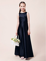 cheap -Princess Floor Length Junior Bridesmaid Dress Wedding Party Satin Sleeveless Jewel Neck with Ruched / Fall / Winter / Spring / Summer / Apple
