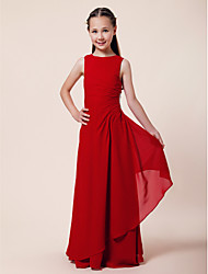 cheap -A-Line / Sheath / Column Bateau Neck Floor Length Chiffon Junior Bridesmaid Dress with Beading / Side Draping / Spring / Summer / Fall / Winter / Wedding Party