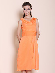 cheap -Princess / A-Line Cowl Neck Knee Length Chiffon Bridesmaid Dress with Ruched / Draping