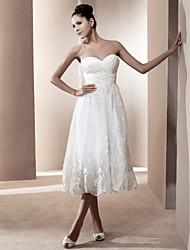 cheap -Princess A-Line Wedding Dresses Strapless Sweetheart Neckline Tea Length Organza Satin Sleeveless with 2020
